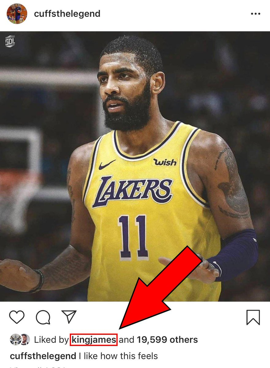 LeBron &quot;likes&quot; Kyrie in a Lakers jersey  <br>http://pic.twitter.com/18CLrpczaD