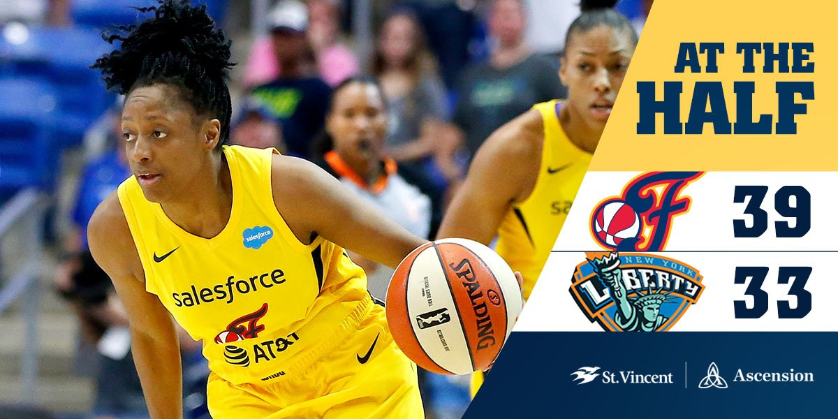 HALFTIME: #Fever 39, Liberty 33  - Wheeler leads the Fever with 9️⃣  points.  - K. Mitchell has 4️⃣ points. - McCowan has 6️⃣ points and 4️⃣ rebounds.  #Fever20 | #AllForLove