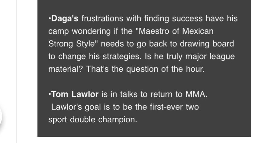 Despite the losses, I truly believe @Daga_Wrestler can get a win because he's the best wrestler I ever see since I first knew of him. It would be interesting to find if Lawlor come to a @MLW event as the World Champion and MMA Champion at the same time. #MLWFusion