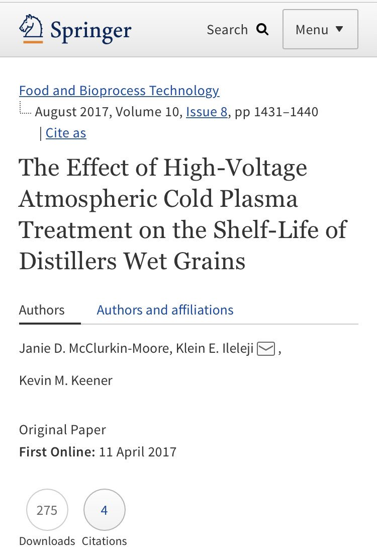 What are we doing with #acp in the #PHEED lab here at #TAMU? Treating #grains and #seed to increase #shelflife and #availability. https://link.springer.com/article/10.1007%2Fs11947-017-1903-6 … #foodsafety leads to #foodsecurity even for #AnimalFeed