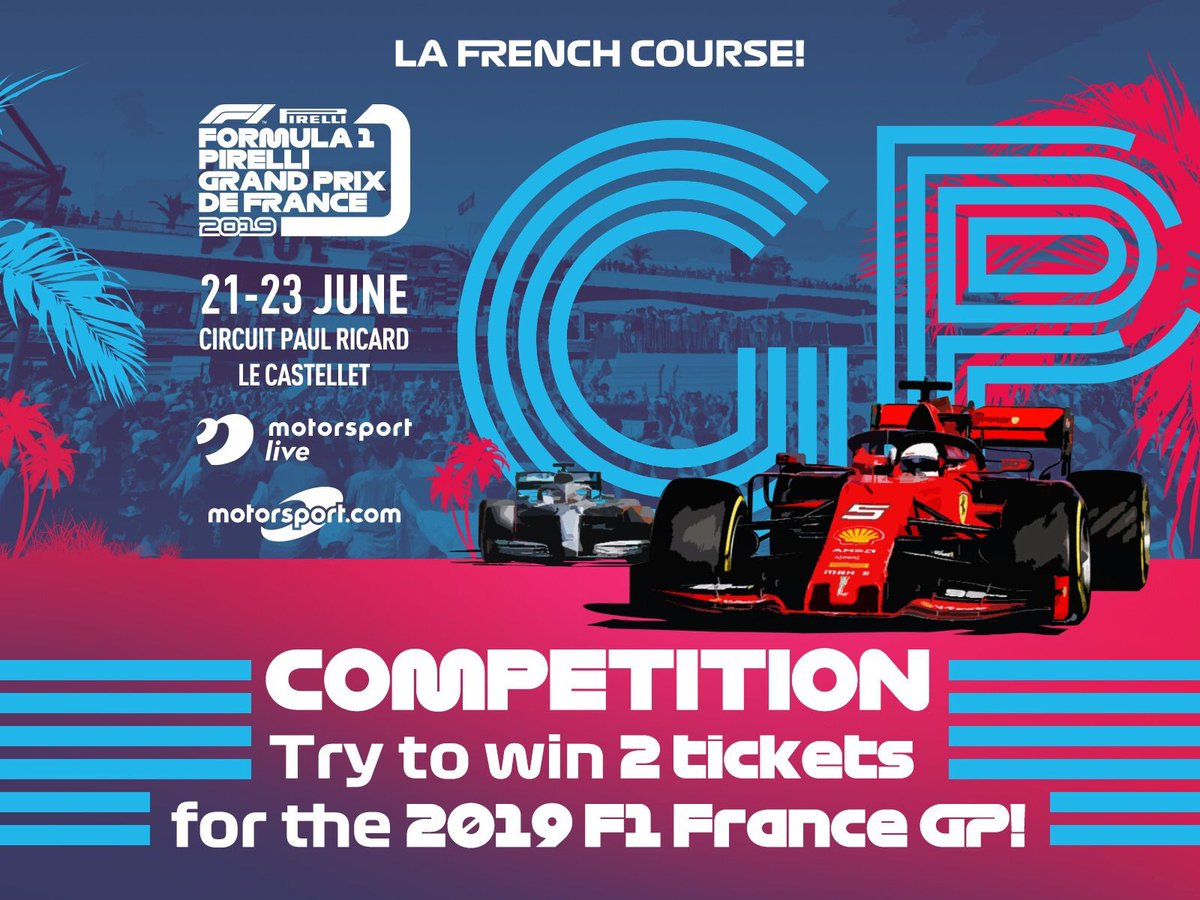 PRIZE DRAW  Win 2 tickets for #FranceGP – 21th to 23rd of June, 2019.  RT this post and tag the person you'd like to attend with.  Prize draw on May 27th!  #FranceGPMNContest  You can buy your tickets at Motorsport Live :https://bit.ly/2VTmMuA  T&C at https://bit.ly/2Evwdue
