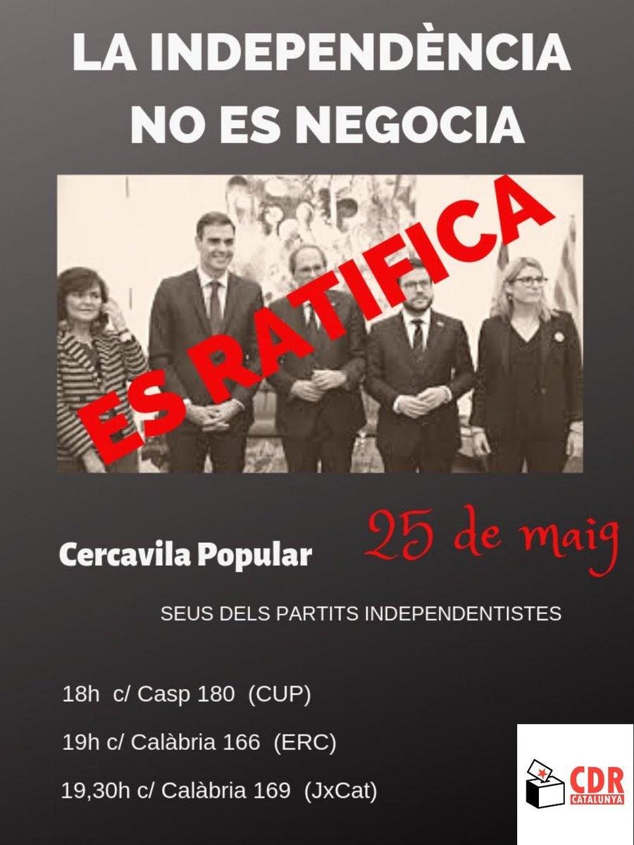 ⛔ Portem un any de govern inefectiu.  ❌ Un any d'inacció i molta repressió.  🤔 Demà 25 de maig us farem reflexionar.  ✊ Nosaltres sabem què volem i no ens rendirem!  #LaIndependènciaNoEsNegocia #25MTothomAlCarrer #NoEnsAturarem #CDRenXarxa