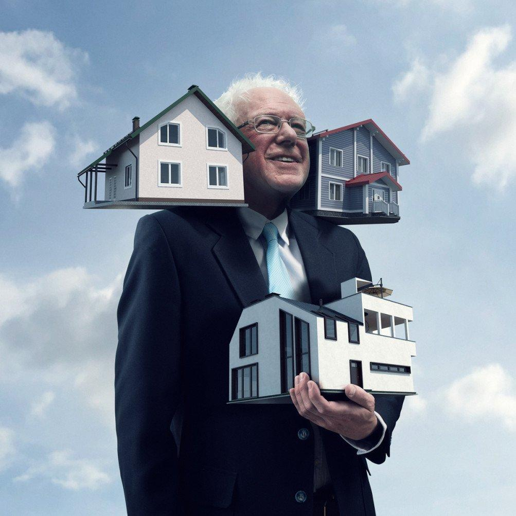 Shuja Haider On Twitter Bernie Sanders Might Have Houses For Ears But He S Sure Not Going To Let That Stop Him From Carrying Around Another House Https T Co Bwmyjpair3,House Exterior Paint Colors That Go With Red Brick