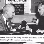 A businessman interested in doing business with the federal government is counseled in one of GSA's business service centers, circa 1967. GSA is still a champion for #SmallBusiness! Learn more: https://t.co/QjfcNQ1mIa #GSAat70