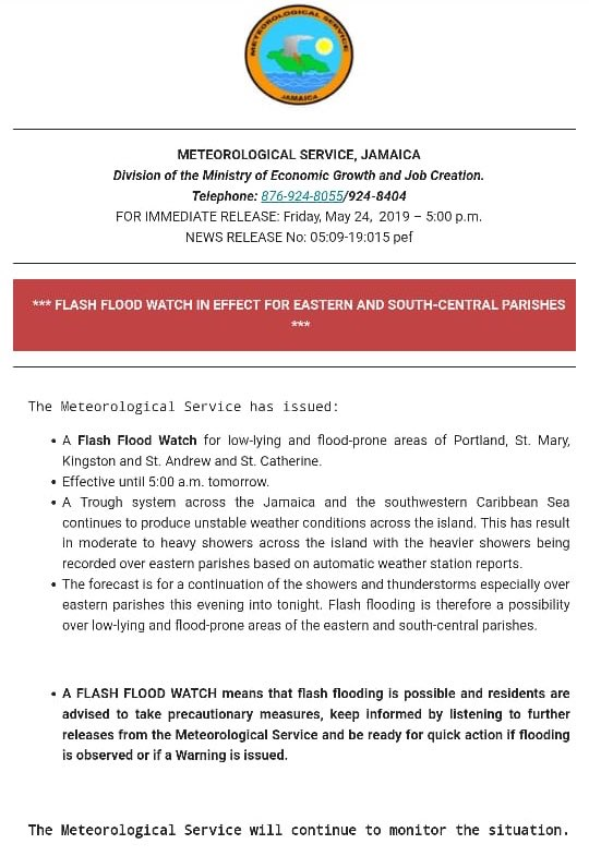 According to @MetserviceJA a Flash Flood Watch for low-lying and flood-prone areas of Portland, St. Mary, St. Catherine and Kingston and St. Andrew effective until 5:00 am. <br>http://pic.twitter.com/OZbqexleOL