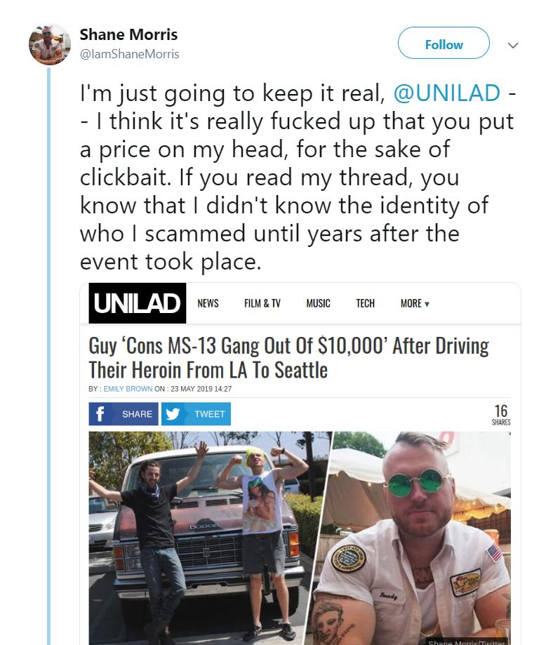 God grant me the moral righteousness of a white guy on Twitter who fabricated a story about stealing heroin, got mad that sites are making money off of ad revenue on the story, and then started a GoFundMe to support him going into hiding all while refusing to delete his tweets. <br>http://pic.twitter.com/PAJDR67l6v