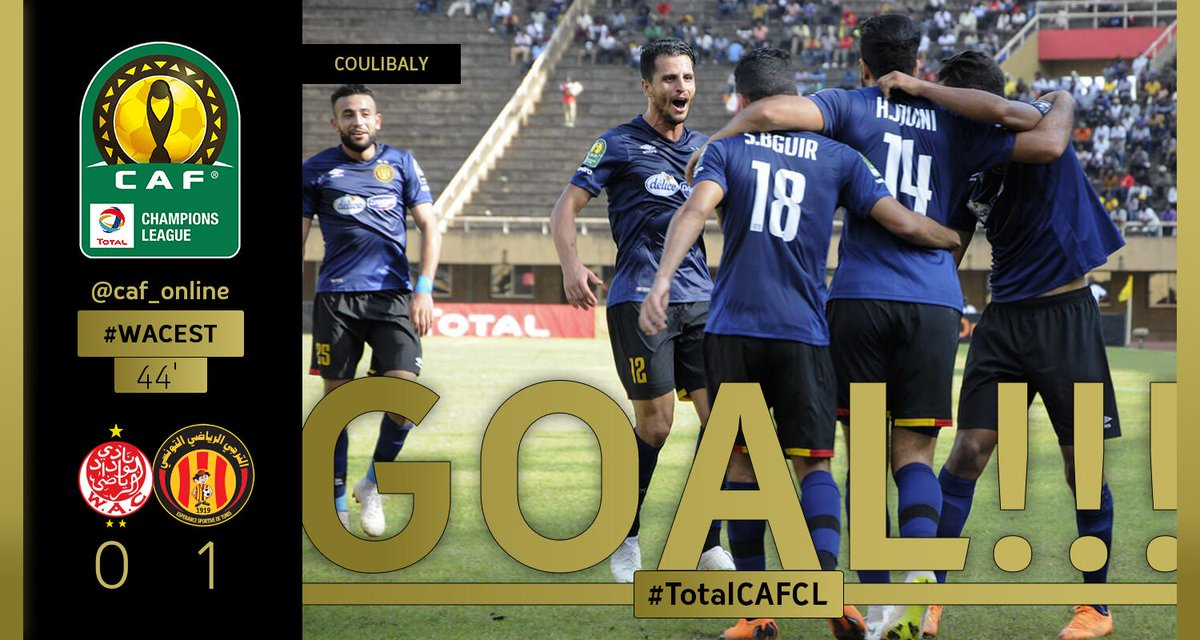 GOOOOAAAL | Fousseny Coulibaly scores a goal for ES Tunis. Wydad Casablanca - ES Tunis 0-1  #TotalCAFCL #WACEST