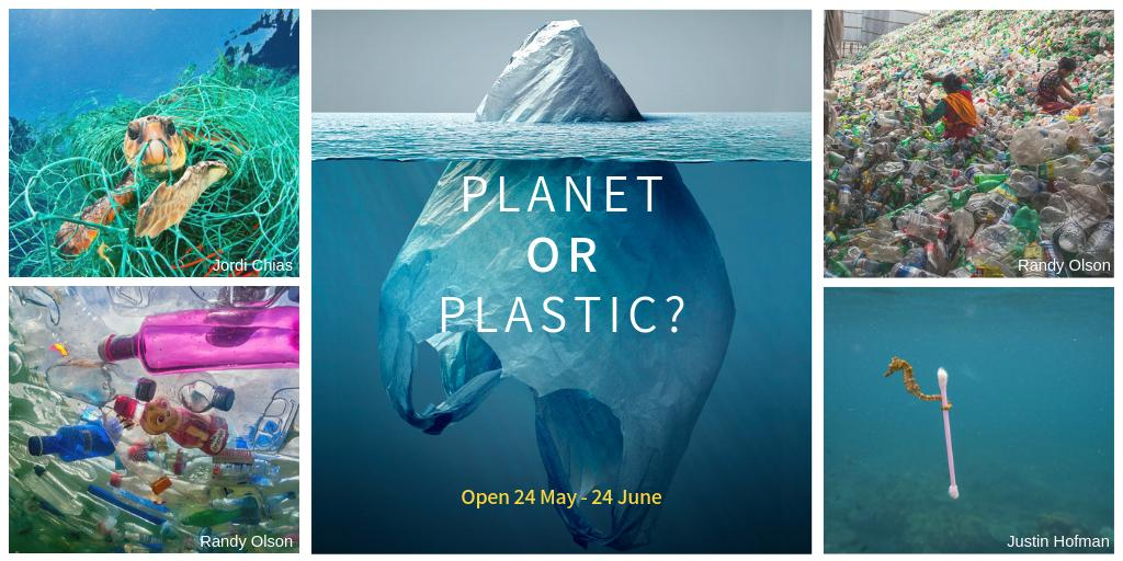 """14 million tons of plastic end up in our oceans every year.   New @NatGeoMuseum """"Planet or Plastic?""""  exhibit at UNHQ highlights urgent need to #BeatPlasticPollution: http://un.org/exhibits"""