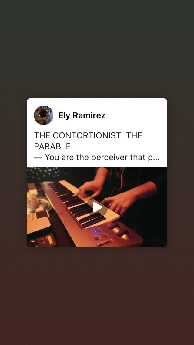 THE CONTORTIONIST  THE PARABLE.   — You are the perceiver that perceived the parable; the never-ending end. You are the infinite. You are the finite. You are. You are.   You are. You are.