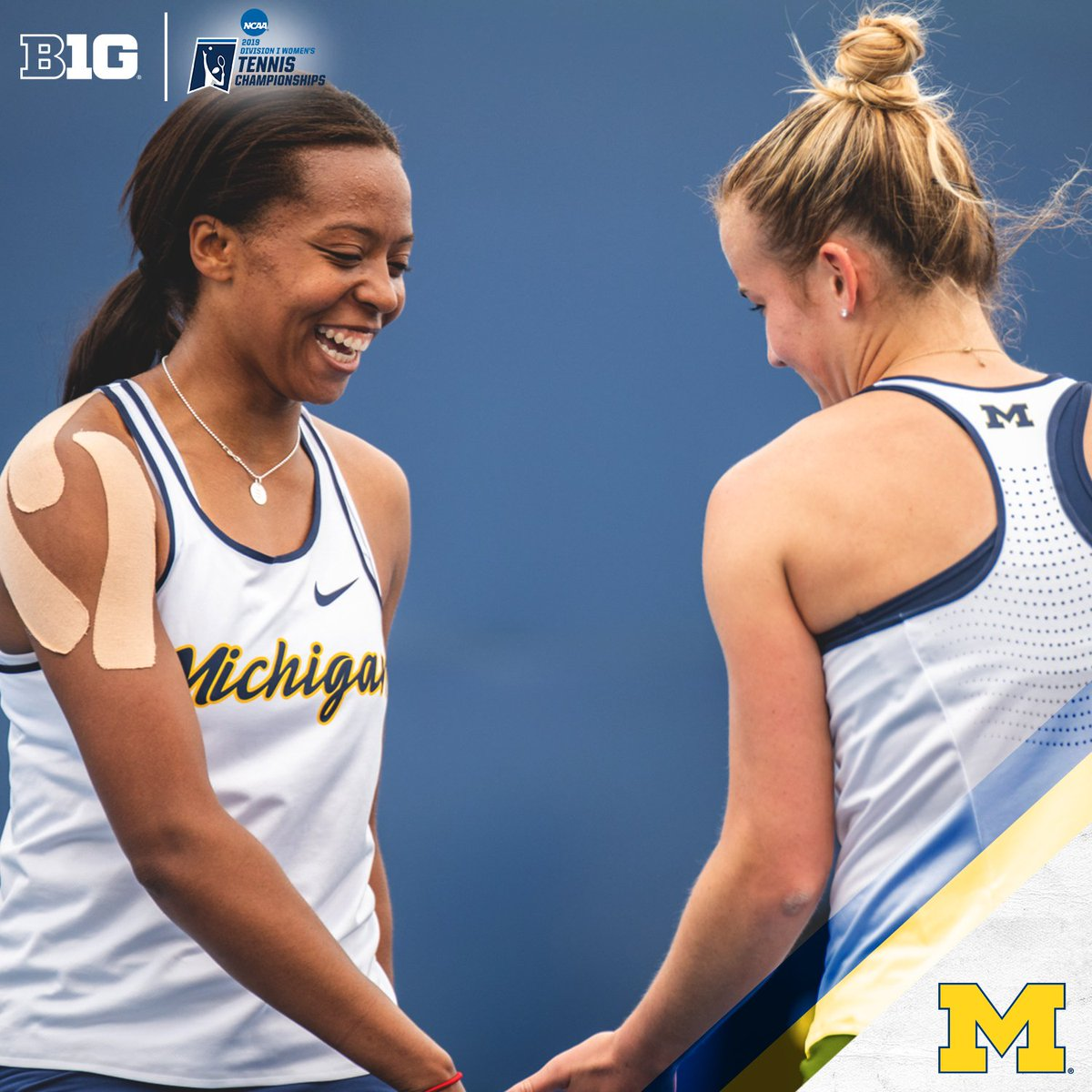 For the first time in @UMichWTennis history, doubles duo Kate Fahey and Brienne Minor will take the court for the 2019 @NCAATennis Tournament semifinals today in Orlando. #B1GWTennis