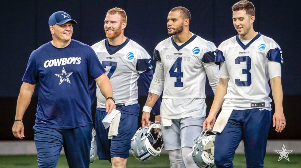"New #DallasCowboys' quarterbacks coach and longtime NFL veteran Jon Kitna says that battle for the no. 2 QB spot is ""a clean slate.""   📰 http://bit.ly/2M7bCCL"