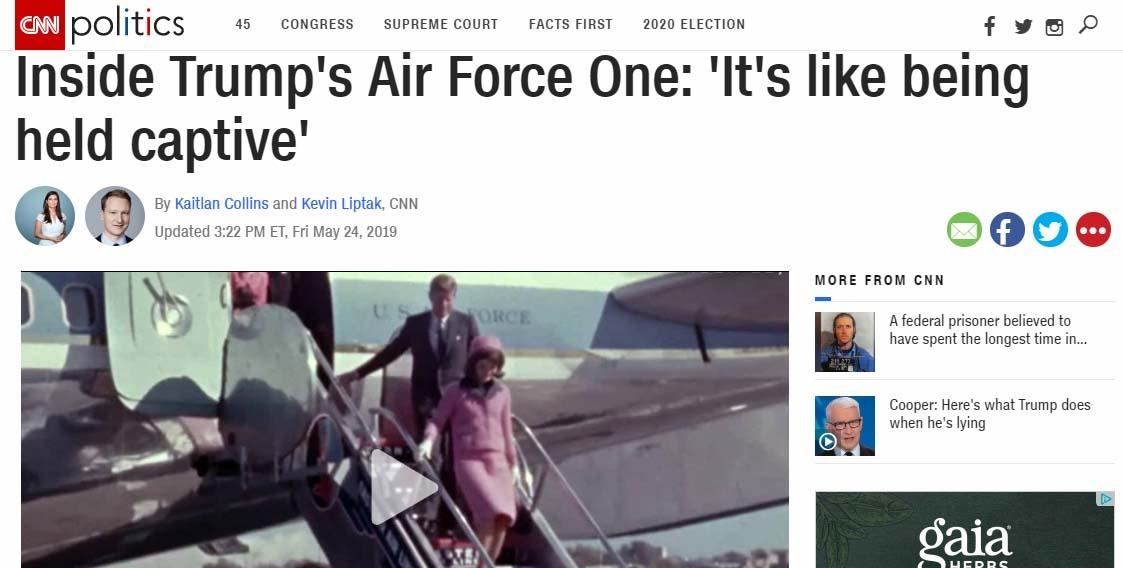 🤔 CNN currently sending message?  Why include a pic of JFK getting off of AF1 on the day he was assassinated with a story about Trump's trip to Japan? Also note time stamp 3:22 https://www.cnn.com/2019/05/24/politics/donald-trump-air-force-one-travel-foreign-trips/index.html…