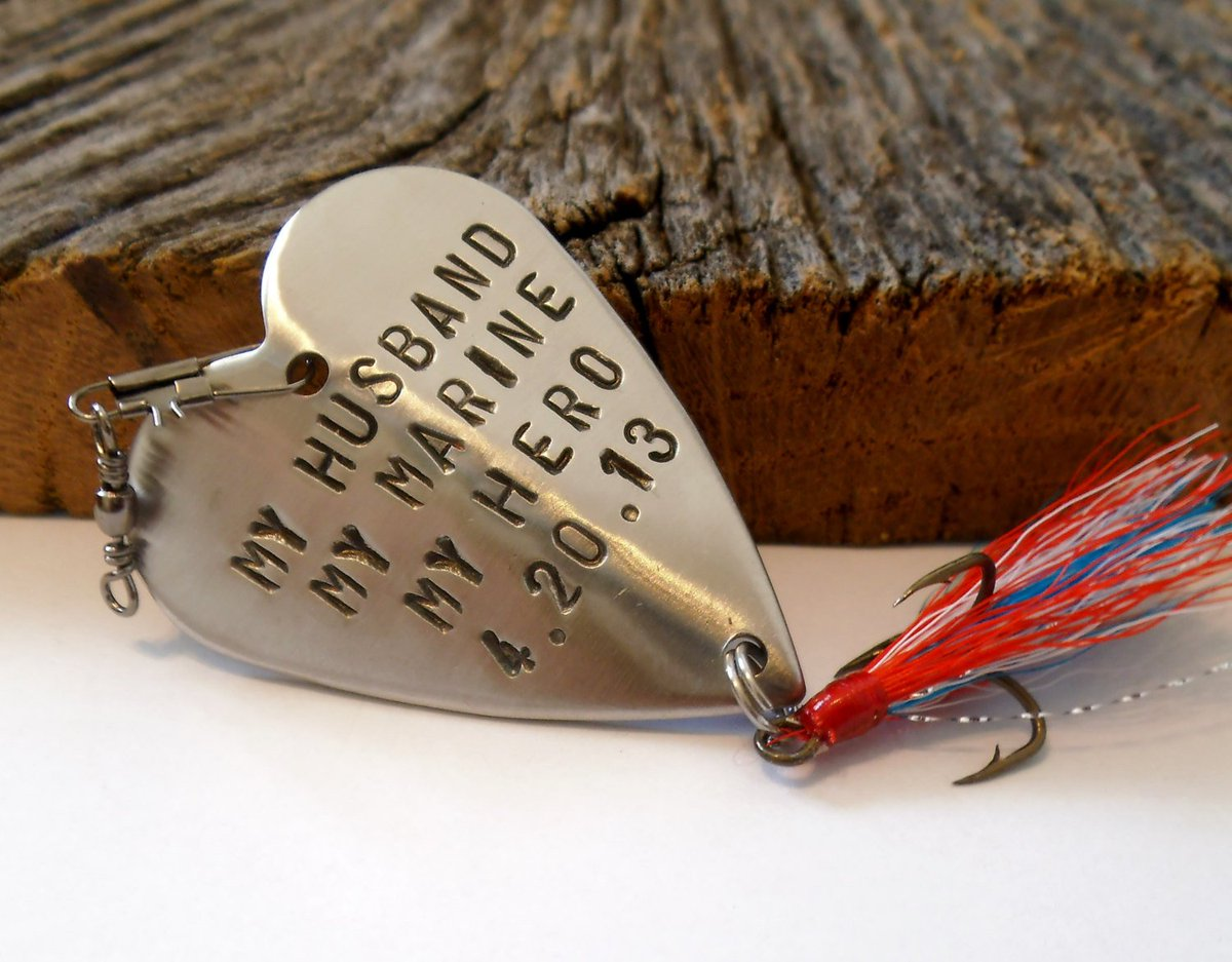My Marine You're My Hero Fishing Lure I Love My Husband Military Wife Mom Son Gift Christmas for Overseas Deployment Soldier Cadet Boyfriend http://tuppu.net/65383ad #CandTCustomLures #Shopify #Handstamped_heart