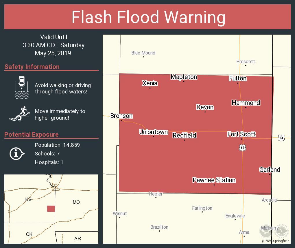 RT NWSFlashFlood: Flash Flood Warning including Fort Scott KS, Bronson KS, Uniontown KS until 3:30 AM CDT <br>http://pic.twitter.com/wNZFpSqOwS