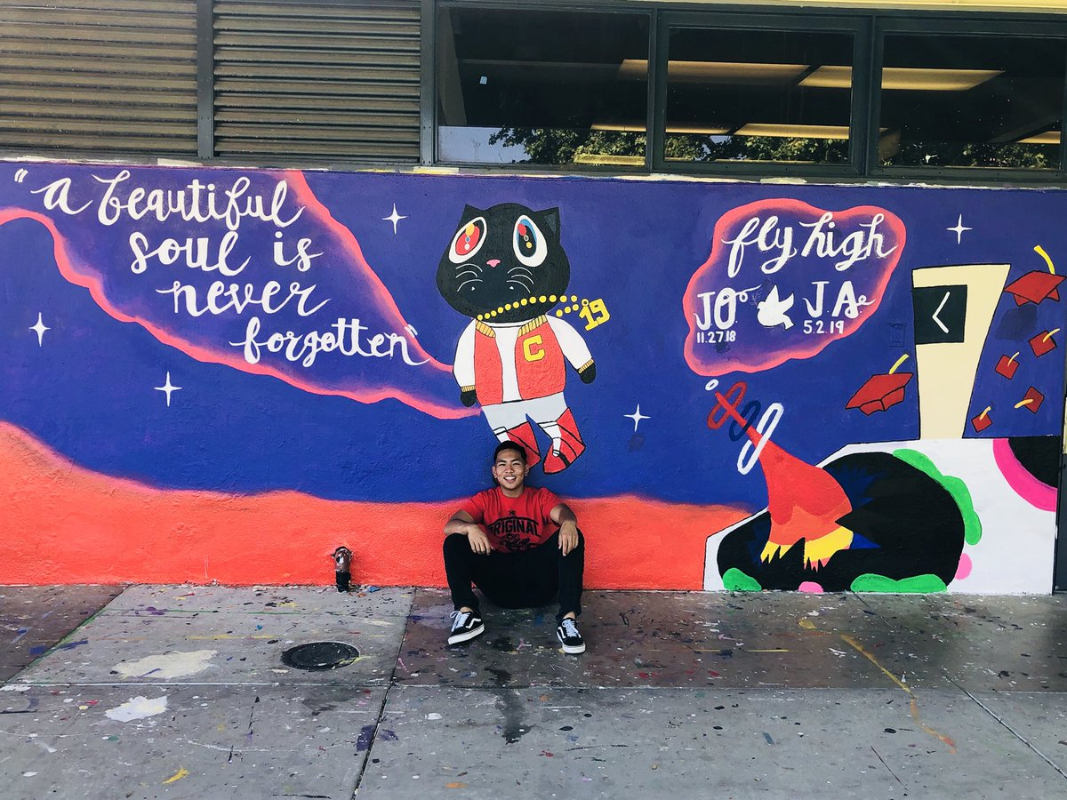 This year at Corona High has been rough for many. We lost the lives of two beloved students. We wanted to share our story through this mural. We never know when it's our time to go so enjoy every bit of it and appreciate those around you.#graduationalbum @kanyewest @KimKardashian<br>http://pic.twitter.com/g4FKlEtNWS
