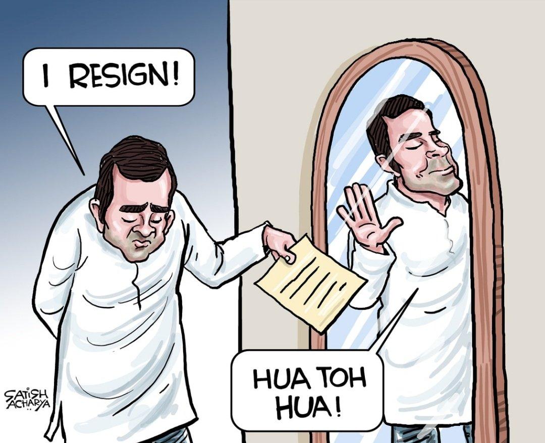 """Satish Acharya on Twitter: """"Rahul Gandhi offers to resign. Cartoon ..."""