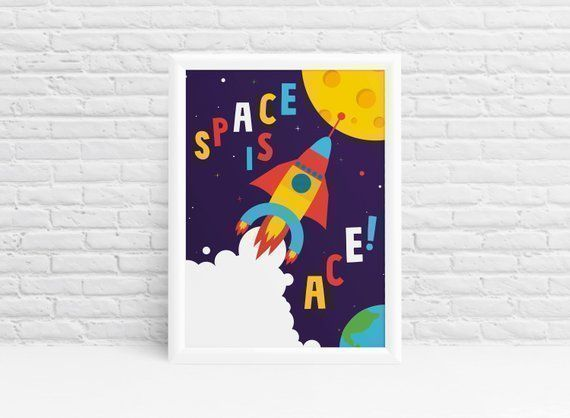 #SPACE is..... #ACE!    https://etsy.me/2ZT2Hre  #PlayRoom #wallart #kids #children #easter #EasterWeekend #GoodFriday #GoodFriday2019 #FridayFeeling #FridaysForFuture #FridayMotivation #friyay