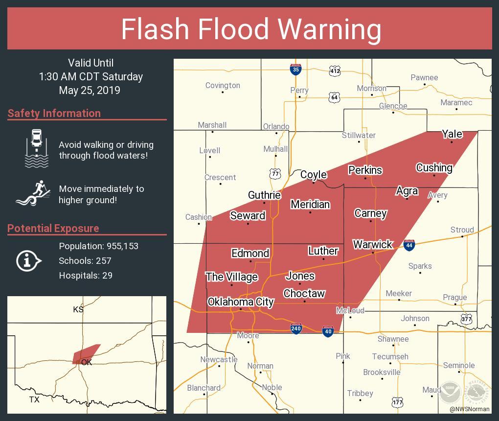 RT NWSFlashFlood: Flash Flood Warning continues for Oklahoma City OK, Edmond OK, Midwest City OK until 1:30 AM CDT <br>http://pic.twitter.com/TQQzSlEiKM