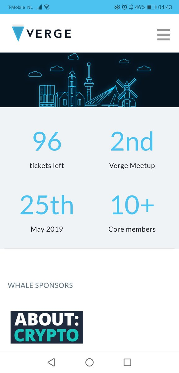 Only a few tickets left to the #Verge Meetup in #Rotterdam! Don't miss it! If you are there, don't forget to shoot me a DM to have a beer!  https://vergecurrency.com/meetup/   #vergecurrency #xvg #Bitcoin #crypto #EUNO #247Bits #vergefam