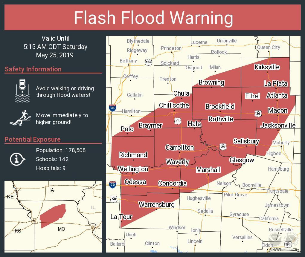 RT NWSFlashFlood: Flash Flood Warning including Warrensburg MO, Kirksville MO, Marshall MO until 5:15 AM CDT <br>http://pic.twitter.com/Xd8zduVVJZ