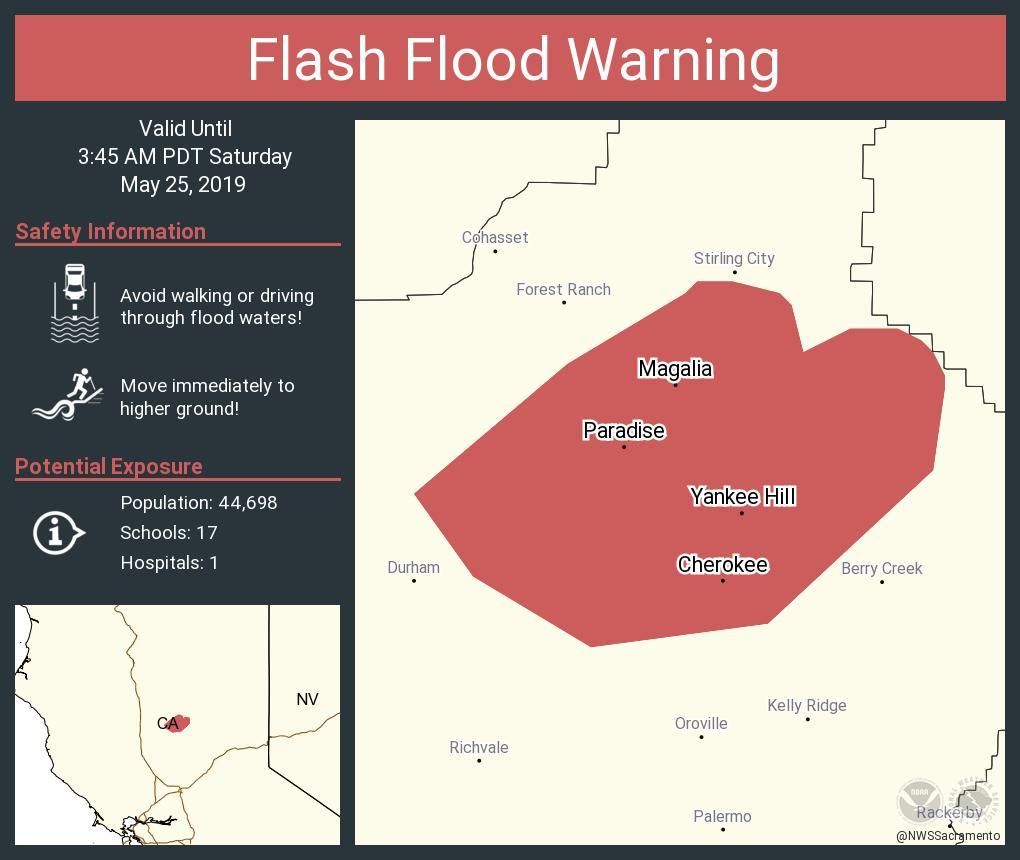 RT NWSFlashFlood: Flash Flood Warning including Paradise CA, Magalia CA, Yankee Hill CA until 3:45 AM PDT <br>http://pic.twitter.com/oD1ajYVeaR