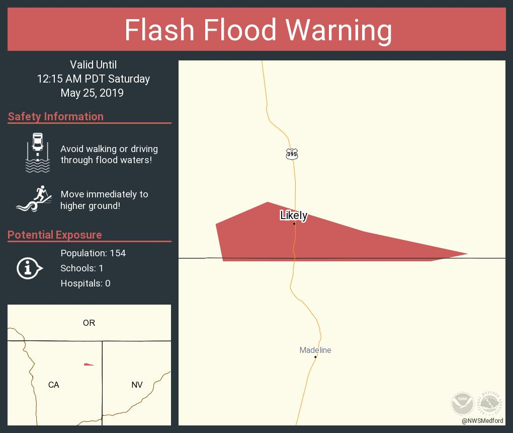 RT NWSFlashFlood: Flash Flood Warning continues for Likely CA until 12:15 AM PDT <br>http://pic.twitter.com/TaGi6rgtRK