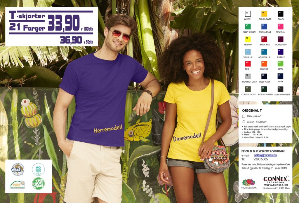 9e199c10 Kampanje T-skjorter Kr 33,90 Bestill med din firmalogo nå! 👉 sales