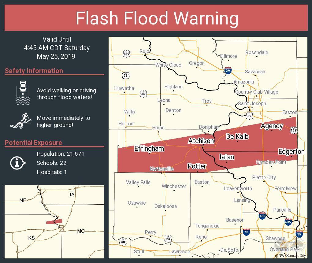 RT NWSFlashFlood: Flash Flood Warning including Atchison KS, Agency MO, Effingham KS until 4:45 AM CDT <br>http://pic.twitter.com/GrpXvItjZJ