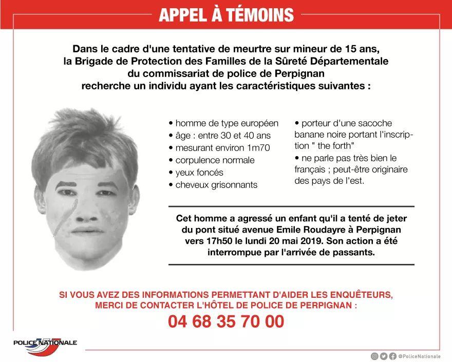 APPEL A TÉMOINS - Un homme entre 30 à 40 ans (1m70, ne parlant pas bien français) a tenté de jeter un enfant du haut d'un pont à #Perpignan. La police a lancé un appel à témoins avec un portrait-robot pour le retrouver.  En cas d'informations : contactez le 04 68 35 70 00.