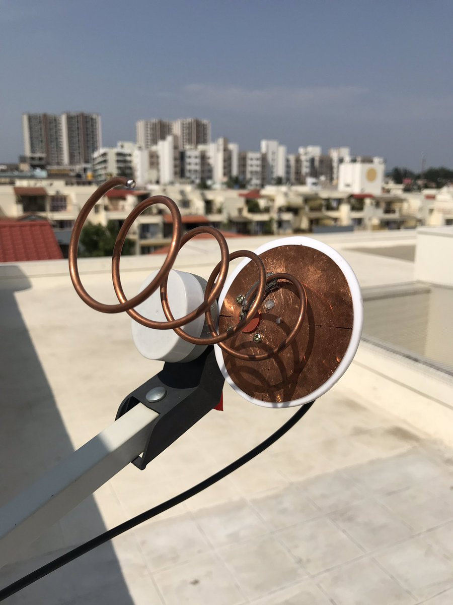 Tested my TX for QO-100 today. Used a helical feed taped to the LNB of my 60cm dish. Copied my signal S9. Setup is an IC-746PRO for 144 MHz IF to a BU-500 upconvertor. <br>http://pic.twitter.com/OSVMVQ7OM4