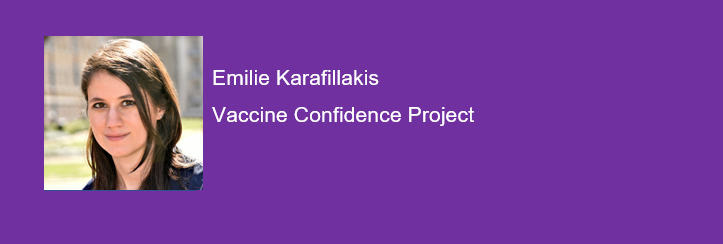'The Global State of Vaccine Confidence'; a talk led by Emilie Karafillakis from the Vaccine Confidence Project, at the UK Clinical Vaccine Network Conference 2019. Eager to to learn more about this and many other exciting vaccine related topics? Then join us! #CVNUK19 #vaccines