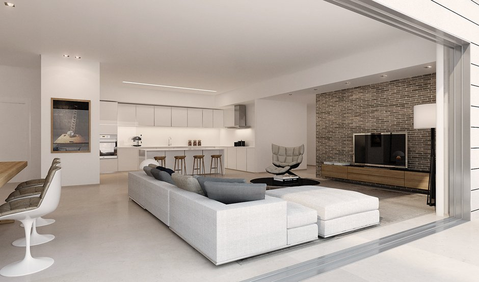 Pasesi Interiors On Twitter Contemporary Simple Straight To The Point The Open Plan Design Beautifully Merges The Lounge Living Area Kitchen There S A Nice Centerpiece Painting With Downlighters To Highlight
