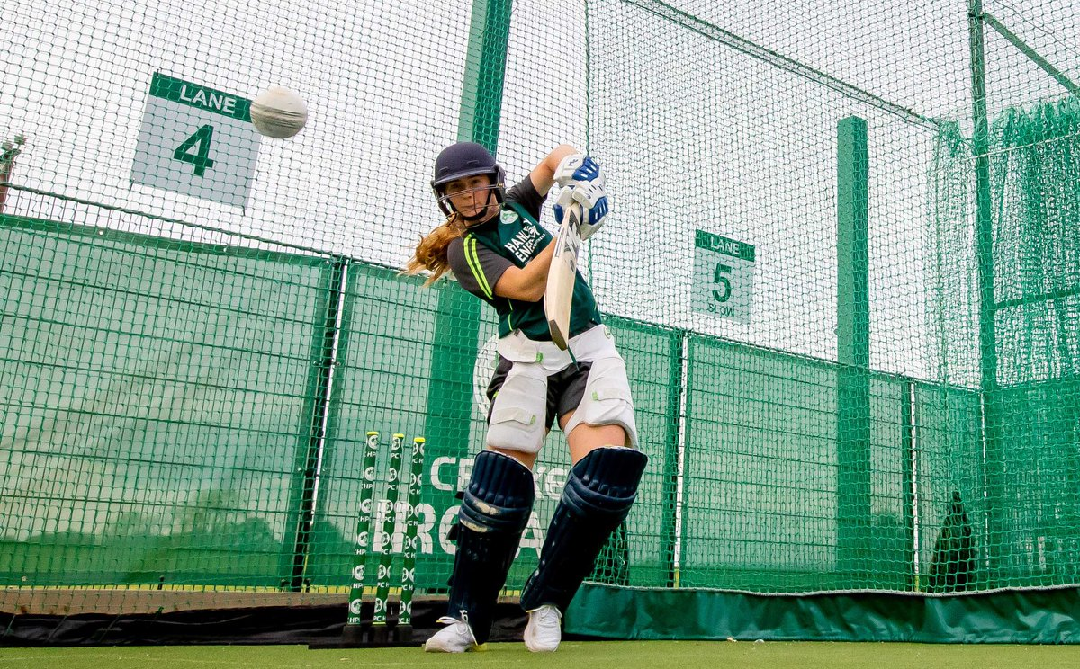 Hard at work training. The squad training in Dublin ahead of the T20I series against @windieswomen. Join us at 2pm, Sunday at @YMCACCDublin for the first match of the series. #BackingGreen #20x20 #CantSeeCantBe