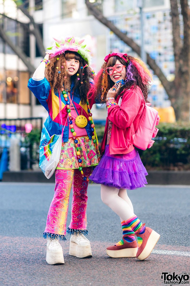 f63940ea1 ugko and hassy wearing colorful fun japanese hadeko street styles in  harajuku with lots of accessories