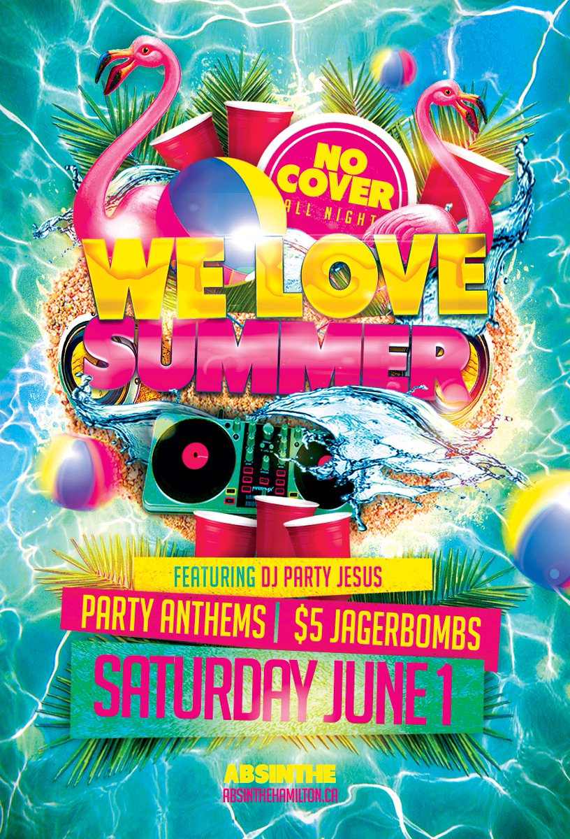 TONIGHT! The time is here and we've got three words for ya...WE LOVE SUMMER. Feat. DJ PARTY JESUS spinning PARTY ANTHEMS all night from all decades and we've got $5 JAGERBOMBS and NO COVER. Summer has never been cooler.