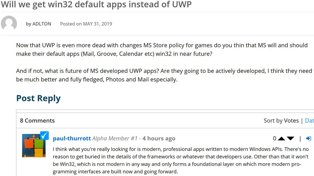 Paul Thurrott just confrimed the death of Win32 : Windows10