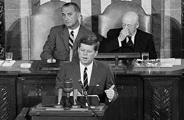"""""""This nation should commit itself to achieving the goal, before this decade is out, of landing a man on the moon & returning him safely to the Earth"""" - President Kennedy (before a joint session of Congress) on this date in 1961"""