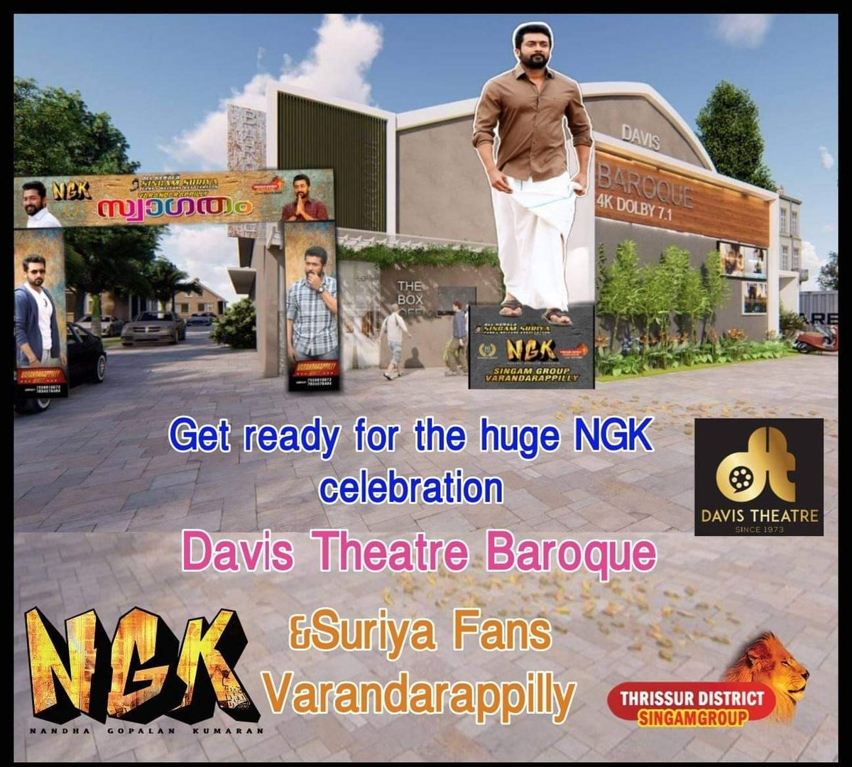 Under Our District Committee Varandrappilly Area Committee Fans Show Confirmed    Show Time  #7Am   New Theatre First Fans Show  @Suriya_offl Fans #SingamGroup  #NGK  #NGKFromMay31  #NGKFire    @DreamWarriorpic<br>http://pic.twitter.com/F8XGVJfC6y
