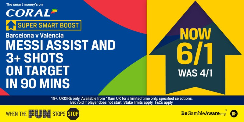 It's the Copa Del Rey final at 8pm as Barcelona look to clinch the domestic double.  🚨Super Smart Boost🚨  Messi to assist & have 3+ shots on target in 90 mins - Was 4/1 - NOW 6/1!  http://corl.me/YPp1Mr