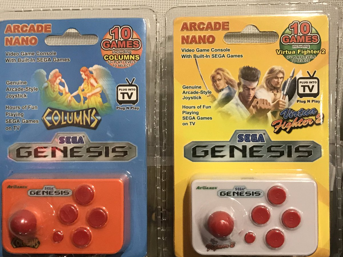 "Since it's #SegaSaturday I thought I'd share these little Nano Arcade units with you guys. Loaded with some Sega ""classics"" like Virtua Fighter 2 and Columns😬 But surprisingly also containing winners like Shinobi 3 and Arrow Flash👌🏻#Sega #arcade #SegaGenesis #segamegadrive #2d"