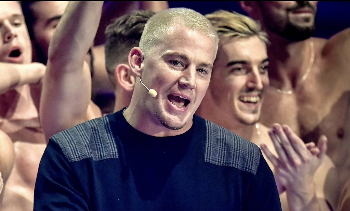 Channing Tatum with a blonde buzz cut seems to be working very well. <br>http://pic.twitter.com/FhQ7BWV832