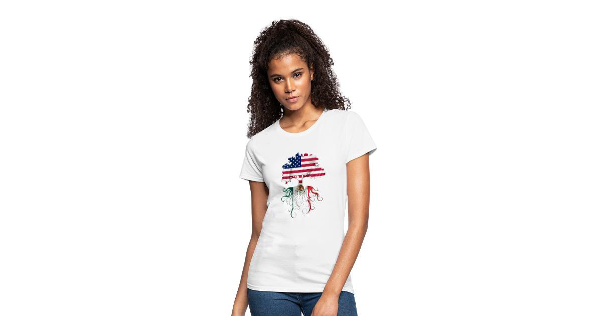 ZeauTees | America Mexico Roots - Womens Jersey T-Shirt #Mexico #tshirt https://buff.ly/2HNfQtC