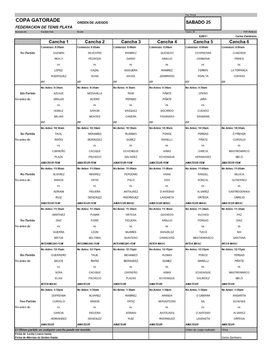 Programación ITF Caracas, sábado 25 y domingo 26 de mayo. Instalaciones @RSFutsalPark avalado por @ITFbeachtennis @FVTenis #beachtennis #tenisplaya #tenisdeplaya #caracas