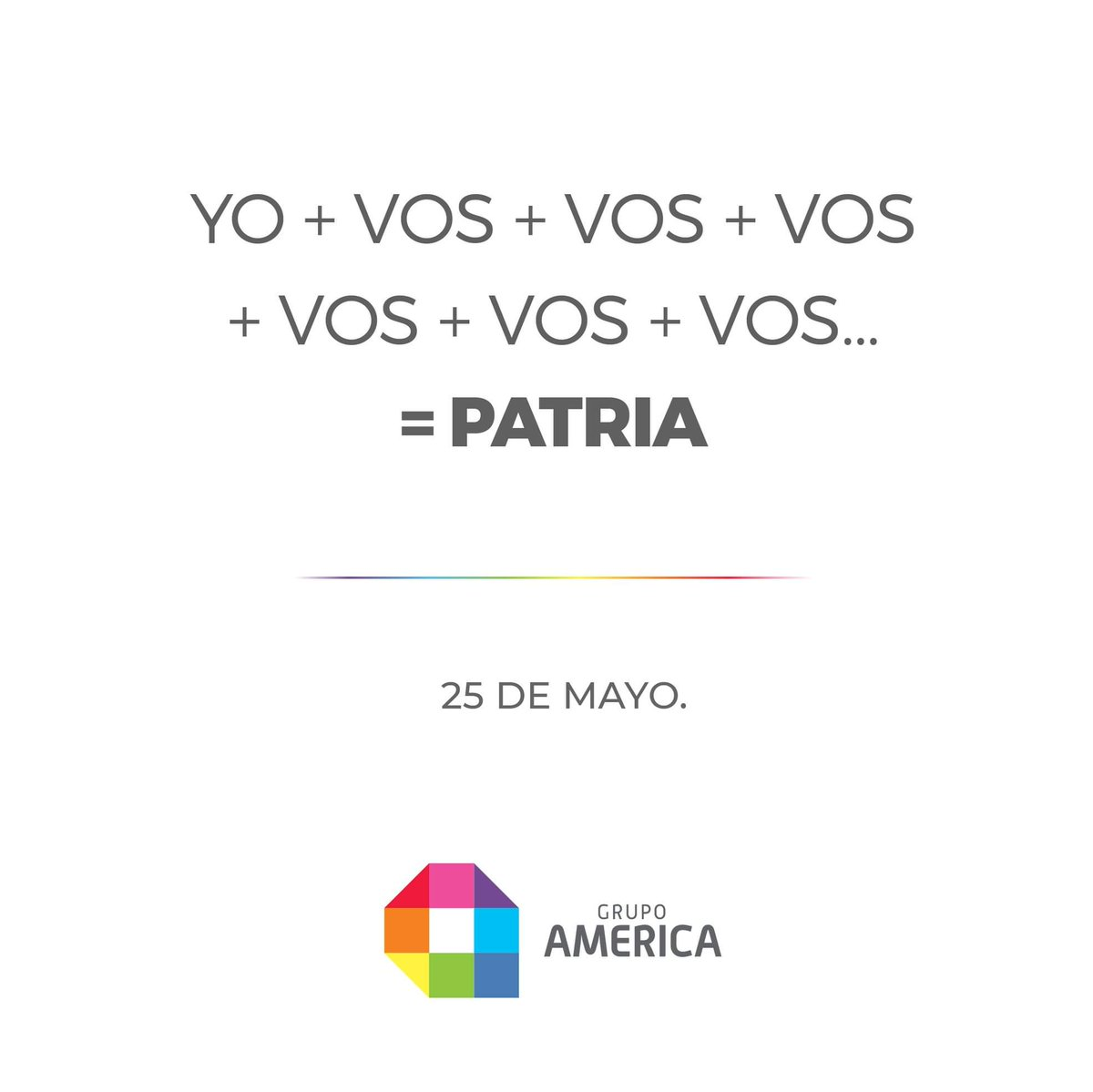 ¡Se cumple un nuevo aniversario de la #RevoluciónDeMayo!  #25deMayo #GrupoAMERICA 🇦🇷🕊 https://t.co/5rEVxZZmyI
