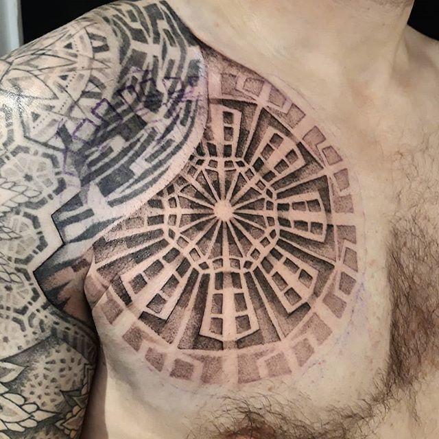 @dotwork_damian ・・・ More for Adam. @tattooistartmag @geometrip @tattoodoapp @boredpanda @theartoftattoos @skinart_mag #dotworkdamian #dotworktattoo #tattoostoday #tattoosinbrighton #chesttattoo #dotworkpattern http://bit.ly/2X5A3Bx