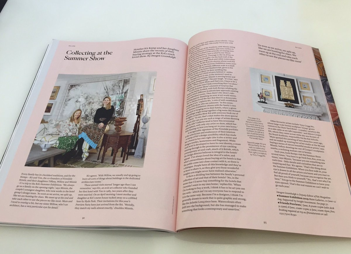 Just received our copy of the @royalacademy #magazine with the talented Kit Kemp article inside.   #Art #interiordesign #london