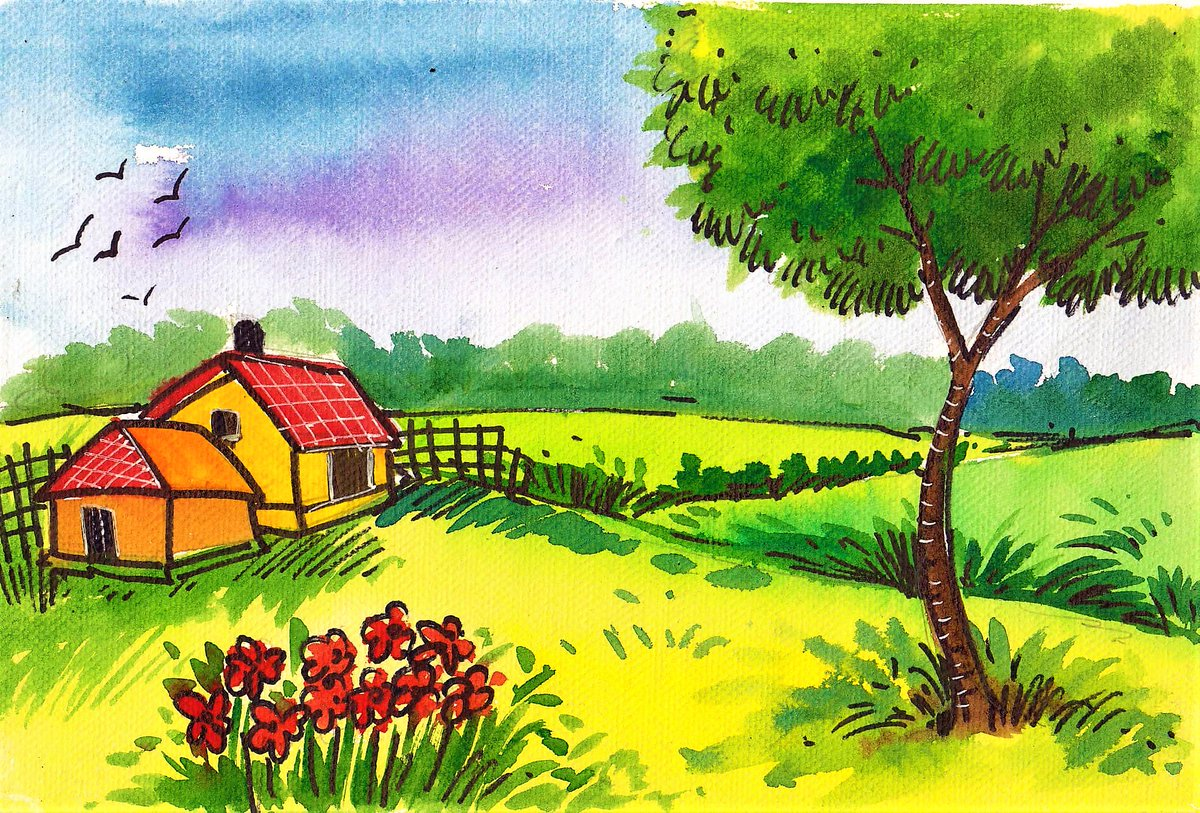 Landscape Painting Watercolor Drawing Scenery Easy