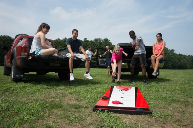 3a6250f5 ... Wicked Big Sports Shuffle Toss – it combines bean bag toss and  shuffleboard game play for the ultimate tailgating competition.