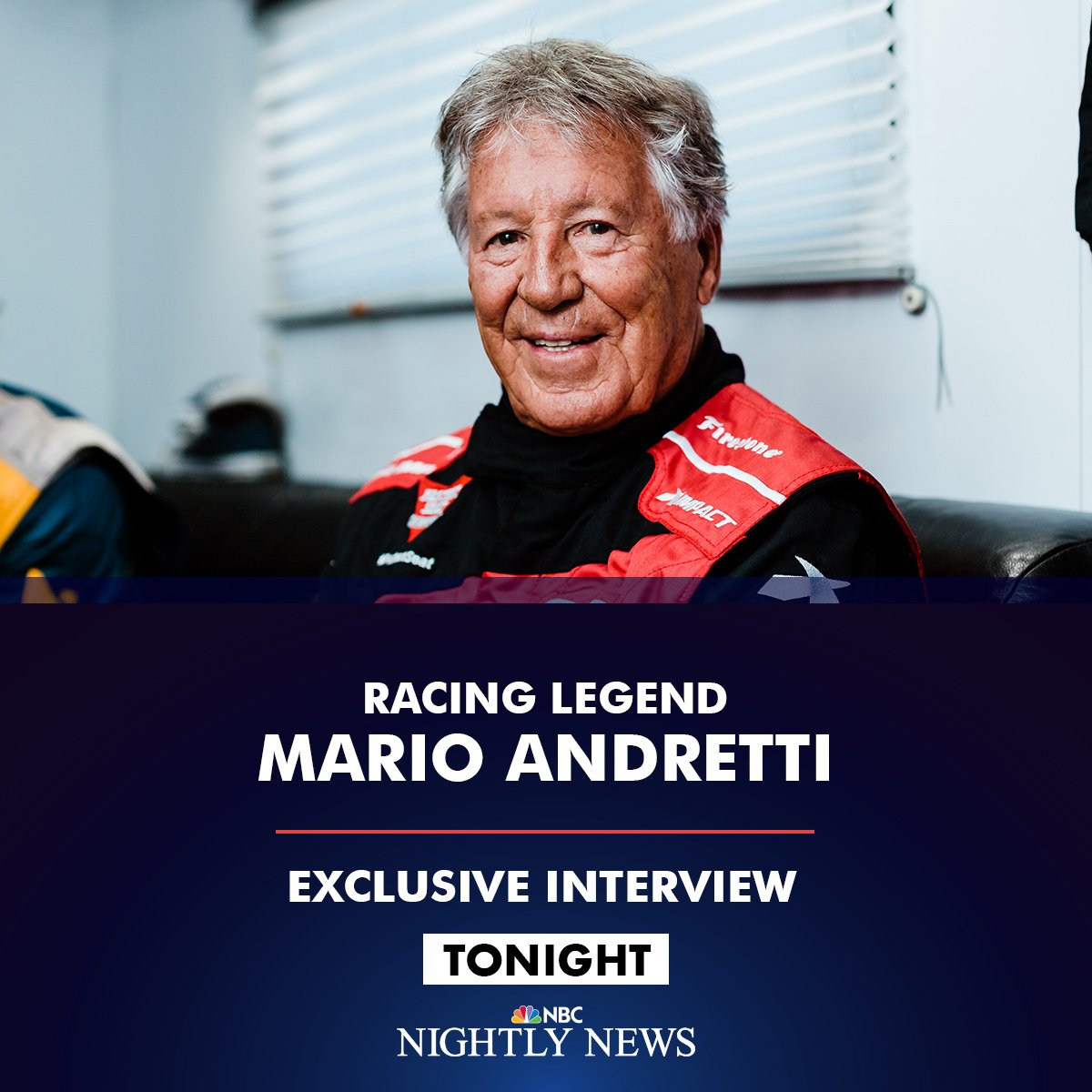 Coming up on @NBCNightlyNews:  @AnneNBCNews goes for a drive with @MarioAndretti as the racing legend looks back on his 1969 #Indy500 win.  Watch tonight on @NBCNightlyNews at 6:30 ET / 5:30 CT on NBC (check your local listings).
