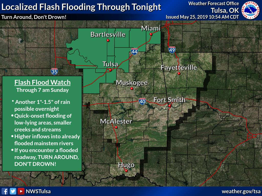 [11 AM - 5/25/19} Flash Flood Watch remains in effect through 7am Sunday, and has been expanded to include Ottawa Co. Rapid-onset flooding possible later tonight with 1-1.5&quot; of rain possible. #OKwx #TADD<br>http://pic.twitter.com/qvMEy9TqCm
